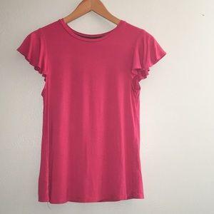 Cupio Pink Ruffle Cap Sleeve Shirt Sleeve Medium